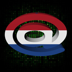 e-mail address symbol with Dutch flag on hex illustration
