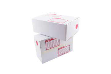 isolated of the white box for packaging with shipping from post