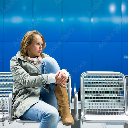 Sad and alone in a big city - Depressed young woman