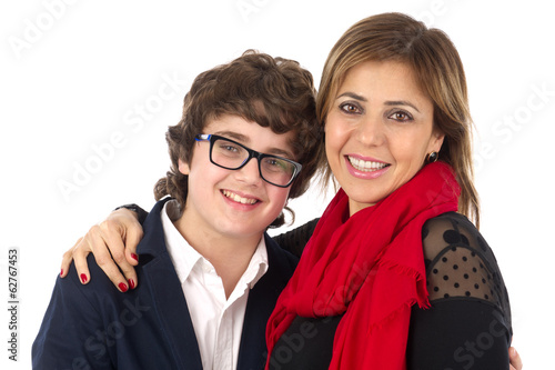 Family shot of Mother and Son Hugging isolated