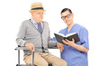 Male nurse reading to an elderly gentleman