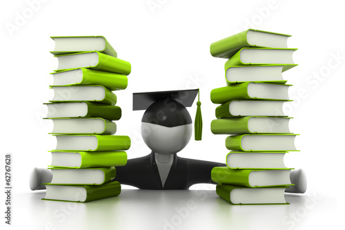 Graduation student and books