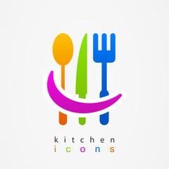 Kitchenware icon fork knife spoon web menu
