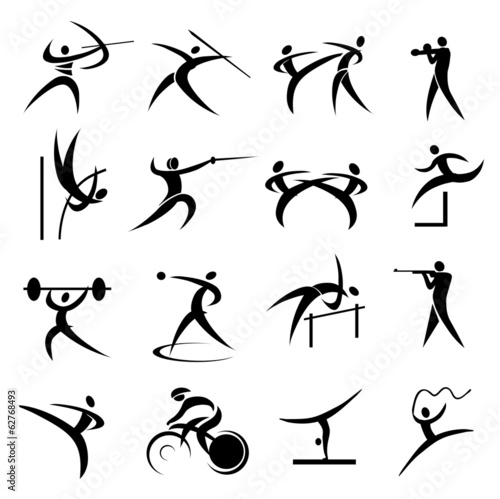 Summer sport games icons set