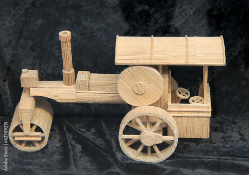 A Wooden Model of a Vintage Traction Engine.