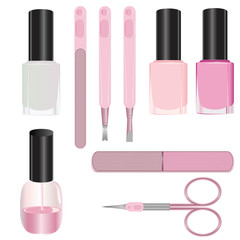 Set of manicure accessories isolated on a white background.