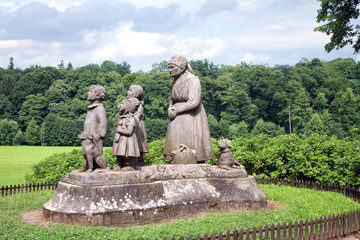 Monument Grandma with children. Ratiborice Czech Republic