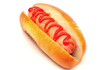 classic hot dog with tomato ketchup