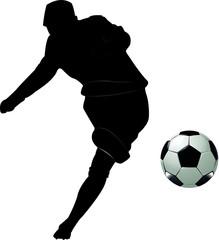 Fussballer beim Schuss inklusive Ball