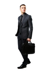 businessman with bag isolated on a white background