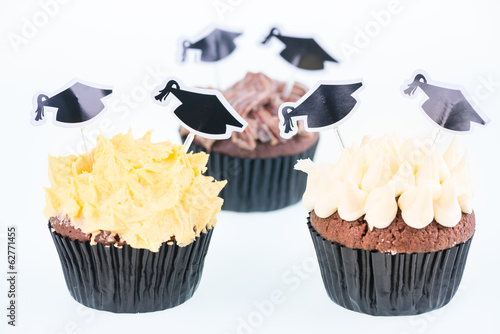 Graduation cupcakes with mortarboard picks