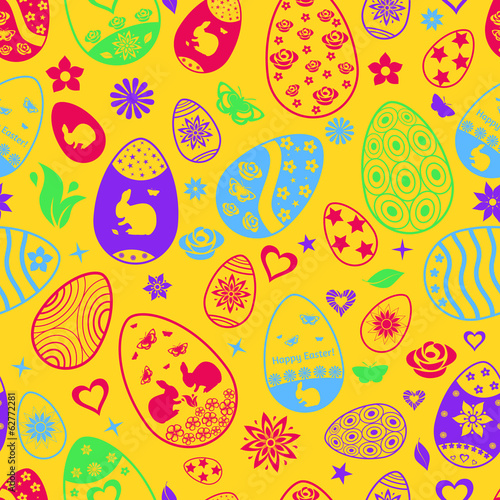 Seamless pattern of Easter eggs, multicolored on yellow