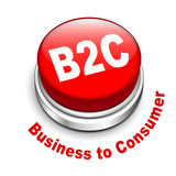 3d illustration of b2c ( business to consumer ) button poster