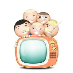 Retro TV and funny family with an antenna