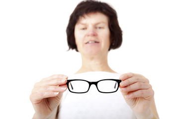 Opticians in fitting eyeglasses