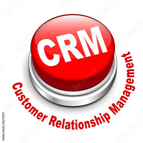3d illustration of crm (Customer Relationship Management) button