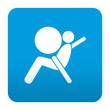 Etiqueta tipo app azul simbolo airbag