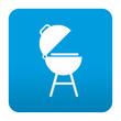 Etiqueta tipo app azul simbolo barbacoa