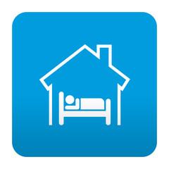 Etiqueta estilo app azul simbolo hotel