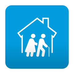 Etiqueta tipo app azul simbolo residencia de ancianos