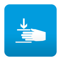 Etiqueta tipo app azul simbolo maquinaria peligrosa