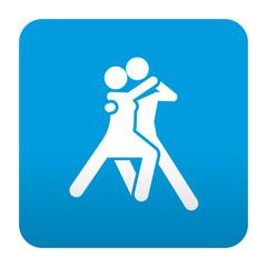 Etiqueta tipo app azul simbolo pareja bailando