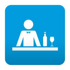 Etiqueta tipo app azul simbolo hosteleria