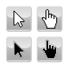 Pixel cursors icons: hand and arrow. Vector illustration.