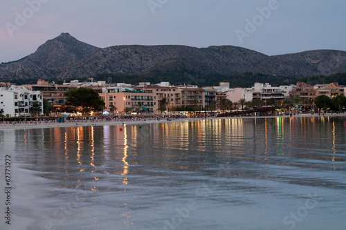 The beach with the evening-time in Alcudia  on Majorca