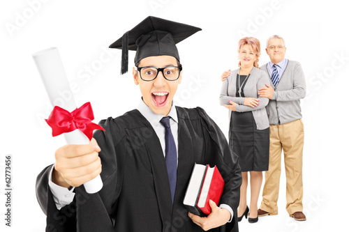 Male college graduate and his proud parents