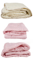 set of pink and beige blankets