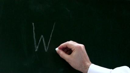 Eine Männerhand schreibt Wann auf eine Tafel