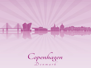 Copenhagen skyline in purple radiant orchid