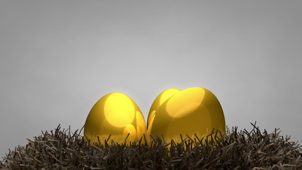 Golden egg and nest, matte