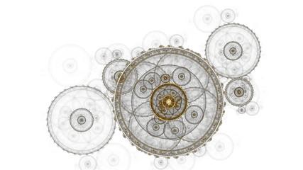 old clock mechanism, ancient metallic cogwheel on white
