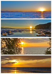 Collage. The Sun above the water. Four seasons. Calendar