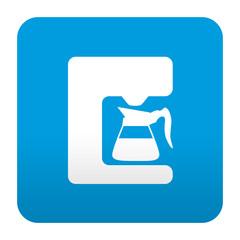 Etiqueta tipo app azul simbolo cafetera