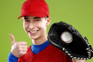 portrait of a beautiful teen baseball player in red and white un