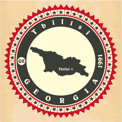 Vintage label-sticker cards of Georgia