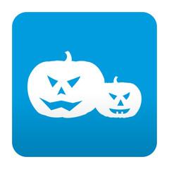 Etiqueta tipo app azul simbolo calabaza de halloween