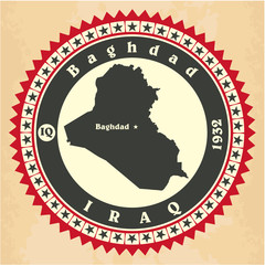 Vintage label-sticker cards of Iraq.