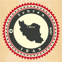 Vintage label-sticker cards of Iran