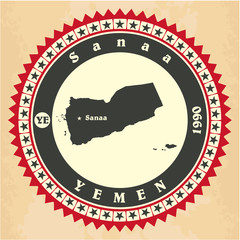 Vintage label-sticker cards of Yemen.