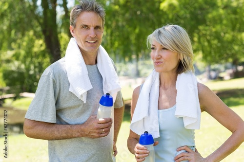 Fit couple in the park