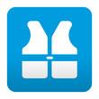 Etiqueta tipo app azul simbolo chaleco reflectante