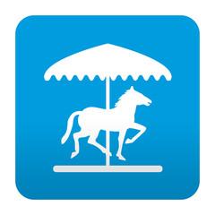 Etiqueta tipo app azul simbolo tiovivo