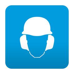 Etiqueta tipo app azul simbolo proteccion para oidos y cabeza
