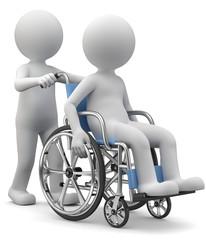 Pfleger mit Rollstuhlfahrer