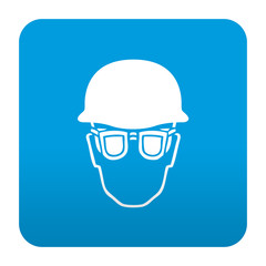 Etiqueta tipo app azul simbolo proteccion para ojos y cabeza