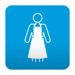 Etiqueta tipo app azul simbolo delantal